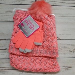 Other - girls coral & silver 3pc set hat gloves scarf
